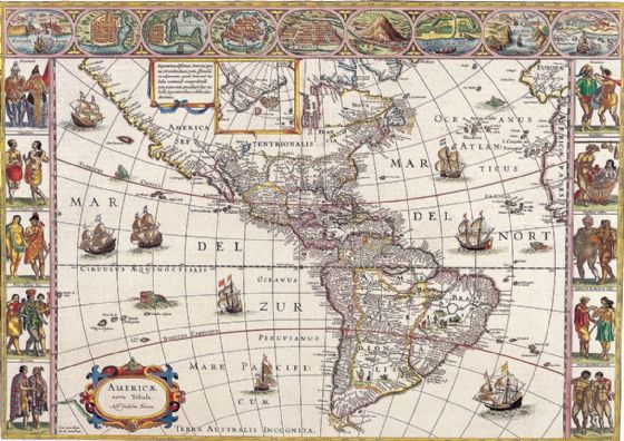 Blaeu, Willem: The Americas. Antique/Vintage 17th Century Map. Fine Art Print/Poster. Sizes: A4/A3/A2/A1 (003870)